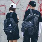 Printed Belted Oxford Backpack