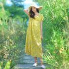 Square-neck Short-sleeve Midi Dress