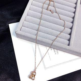 Faux Pearl Pendant Necklace Gold - One Size