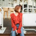Frilled V-neck Blouse