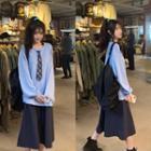 Plain Long Sleeve Tie-neck Sweatshirt / Plain A-line Skirt