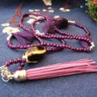 Ceramic Bead Tassel Necklace Twisted - Purple - One Size