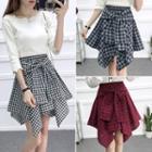 Mock Plaid Shirt Mini Skirt