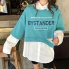 Lettering Short-sleeve Cropped Pullover / Plain Shirt