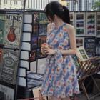 Floral Print Sleeveless Mini A-line Chiffon Dress