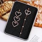 925 Sterling Silver Asymmetric Heart Shape Earring Silver - One Size