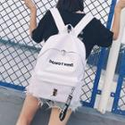 Embroidered Letter Canvas Backpack