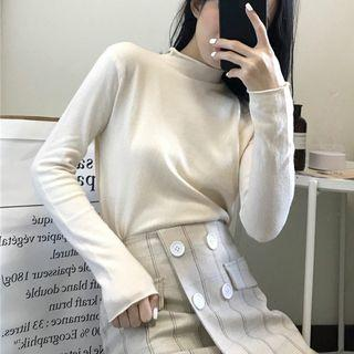 Plain Mock Neck Long-sleeve Knit Top
