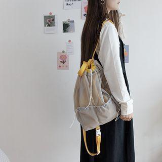 Mesh Panel Drawstring Canvas Backpack