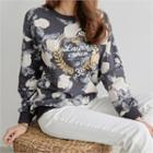 Lettering Floral Pattern Sweatshirt