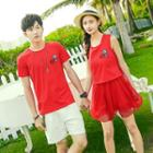 Couple Matching Patch Embroidered Short Sleeve T-shirt / Tank Dress