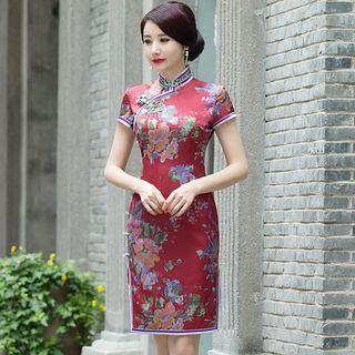 Floral Print Short Sleeve Qipao