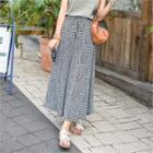 Drawstring-waist Patterned Maxi Skirt