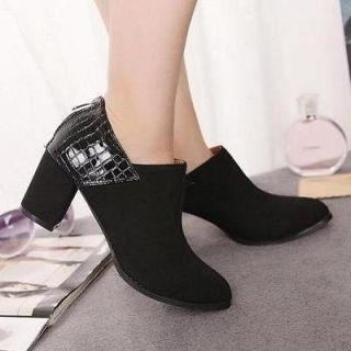 Croc-grain Panel Shoe Boots