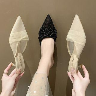 Pointed Mesh Kitten Heel Mules