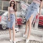 Slit-side Denim Skirt