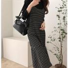 Set: Round-neck Top + Spaghetti-strap Striped Dress One Size