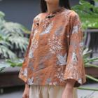 Long-sleeve  Frog-buttoned Printed Top