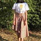 Striped Tie Waist Midi Skirt