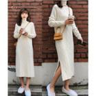 Turtleneck Midi Cable-knit Dress