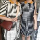 Short-sleeve Contrast Trim Striped Polo Dress