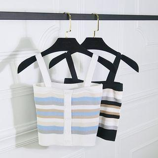 Striped Buttoned Knit Camisole