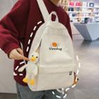 Duck Charm Planet Embroidered Corduroy Backpack