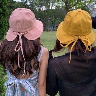 Ribbon-back Plain Bucket Hat