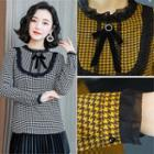 Lace-trim Houndstooth Blouse