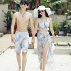 Couple Matching Set: Floral Print Beach Short + Bikini + Cover-up