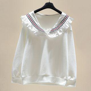 Sailor Collar Pullover White - One Size