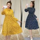 Floral Print Long-sleeve A-line Midi Dress