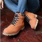 Patterned-trim Lace-up Ankle Boots