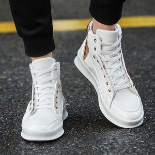 Lace-up Studded High-top Sneakers