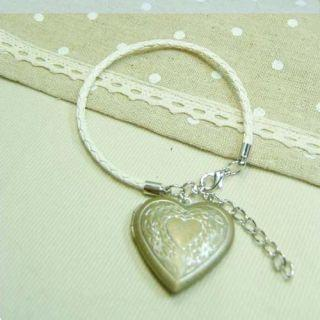 Sweet Heart Locket Leather Bracelet