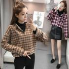 Mock Two Piece Mock Neck Plaid Shirt