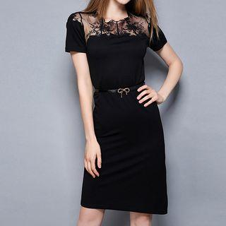 Lace Panel Short-sleeve Sheath Dress