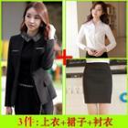 Set: Long-sleeve Shirt + Pencil Skirt + Collarless Blazer