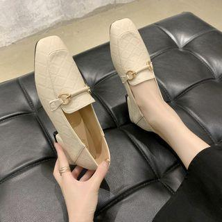 Square Toe Faux Leather Block Heel Loafers