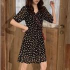 Short-sleeve Crinkled Floral A-line Dress