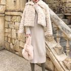 Turtleneck Midi Knit Dress / Faux Fur Jacket
