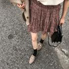 Frill-trim Crinkled Plaid Miniskirt
