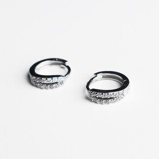 925 Sterling Silver Rhinestone Hoop Earring 925 Silver - As Shown In Figure - One Size