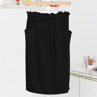 Elastic Waist Pencil Skirt Black- One Size