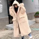 Faux Shearling Long Hooded Duffle Coat