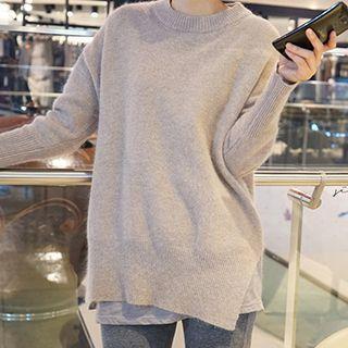 Plain Side Slit Sweater