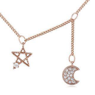 Rhinestone Star Moon Necklace