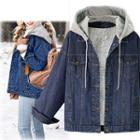 Hooded Fleece Lined Denim Jacket
