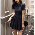 Plain Pleated Polo Dress