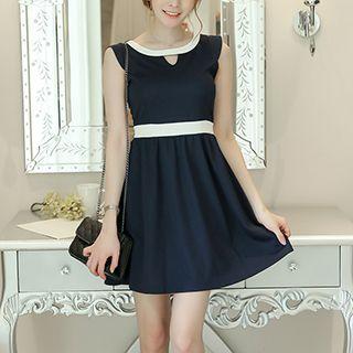Sleeveless Color Block Pleated Dress
